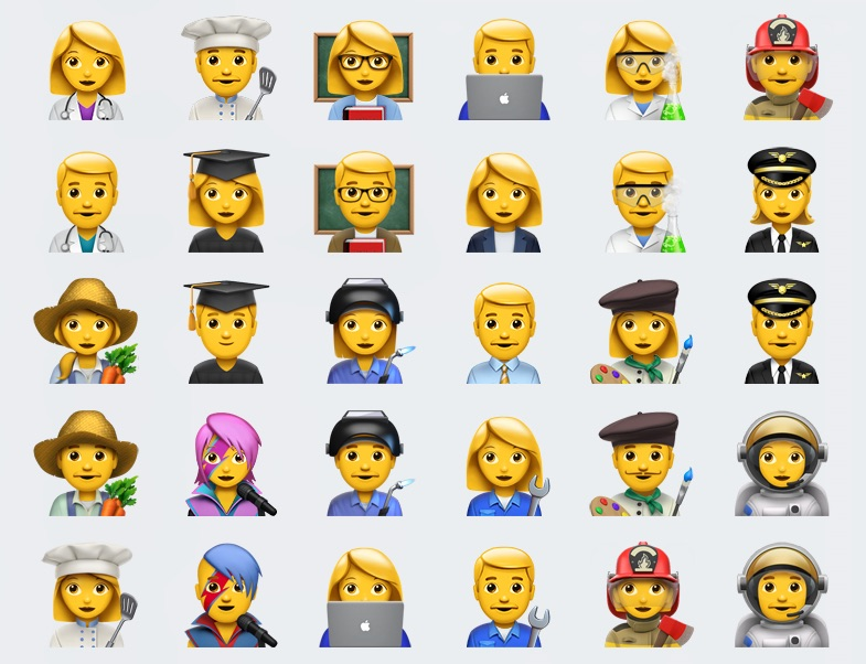 above a range of professions on the emoji keyboard in ios 102