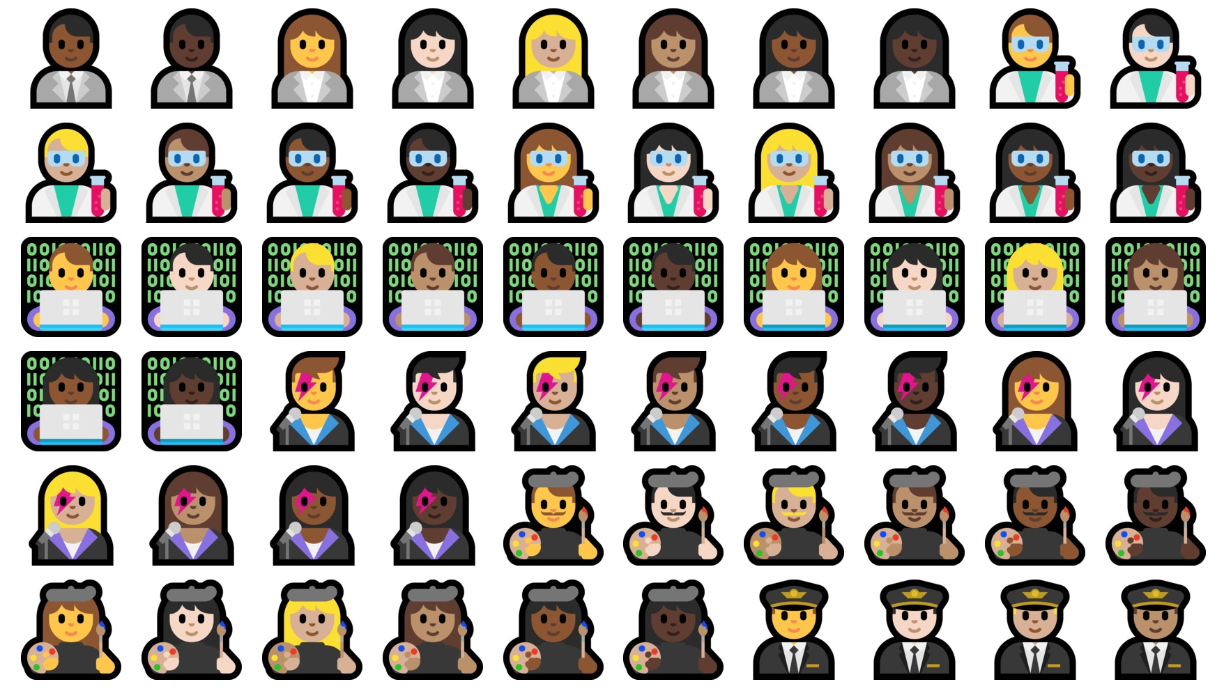 Windows 10 Creators Update Emoji Changelog