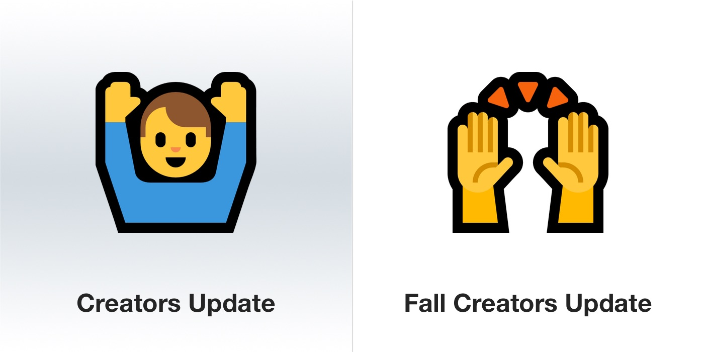windows-10-fall-creators-update-hands-in-celebration-emoji-emojipedia