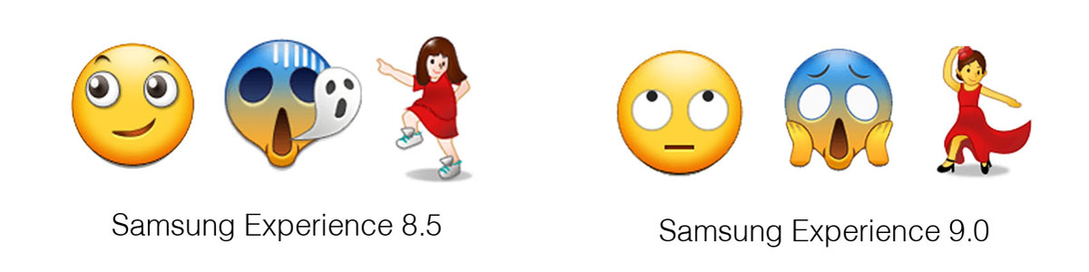 Samsung-Experience-9-0-Emojipedia-Comparison-Eye-Roll-Scream-In-Fear-Dancing-Woman-1