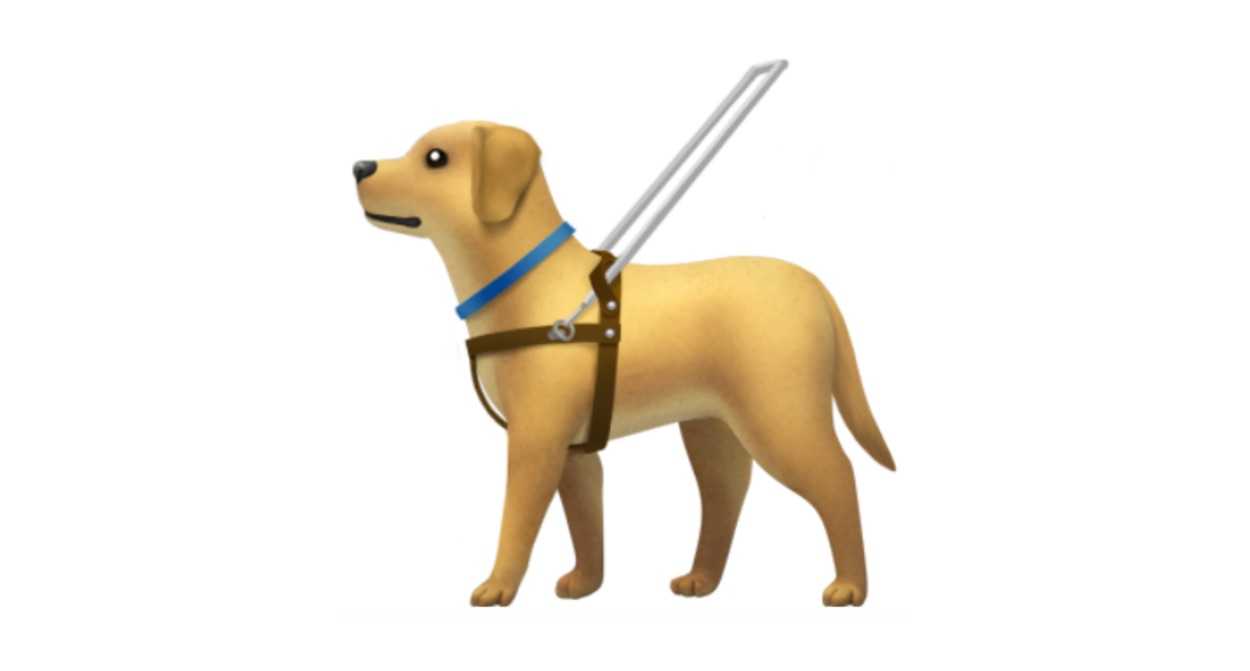 apple-guide-dog-with-harness-emoji-emojipedia