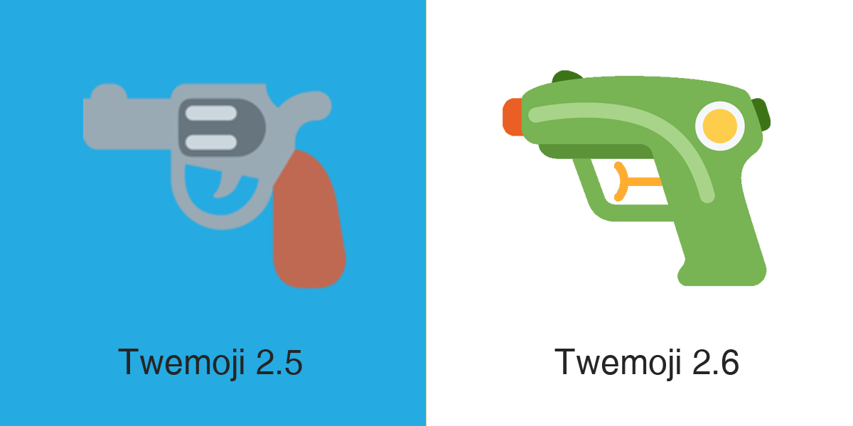 Emojipedia-Twemoji-2dot6-Pistol-Emoji-Comparison-1