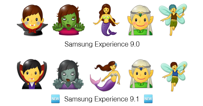 Samsung-Experience-9-1-Emojipedia-Comparison-Fantasy-Characters-Comparison-1