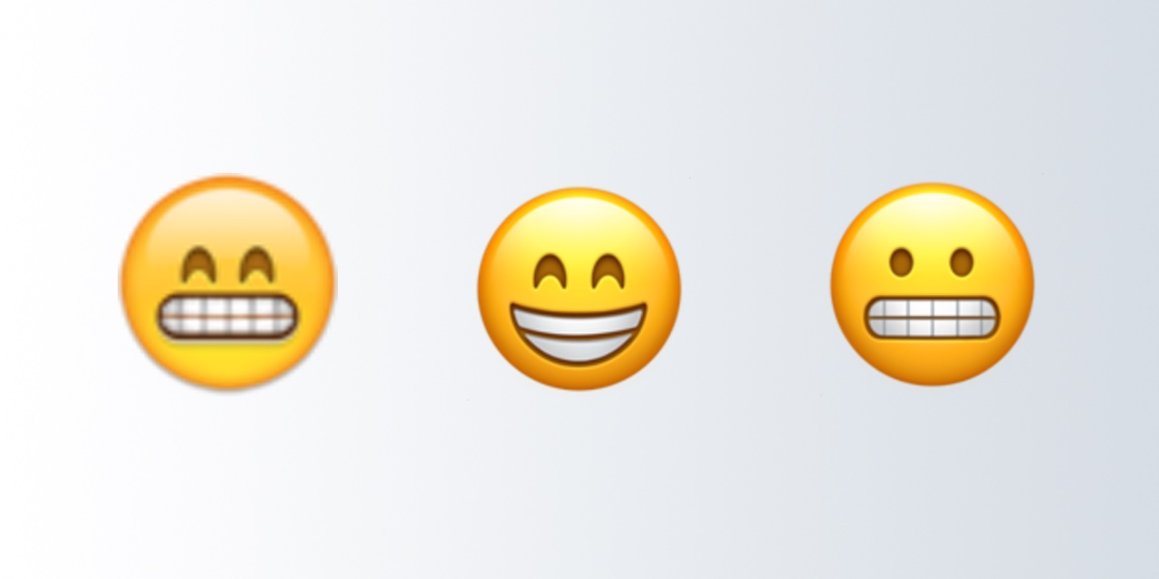 Apple-Beaming-Face-With-Smiling-Eyes-Grimacing-Face-Comparison-Emojipedia