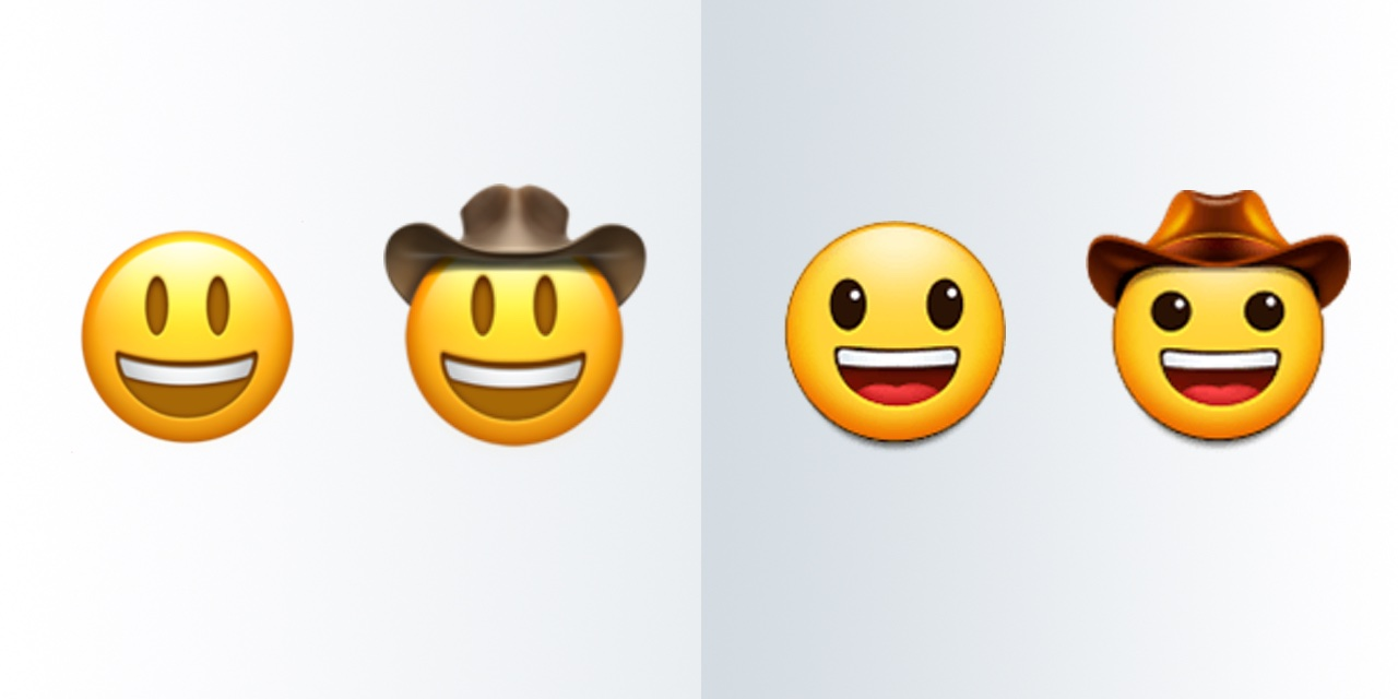 Apple-Samsung-Grinning-Face-With-Big-Eyes-Cowboy-Hat-Face-Comparison-Emojipedia