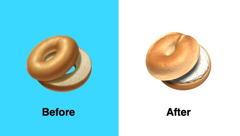 emoji de bagel antes después