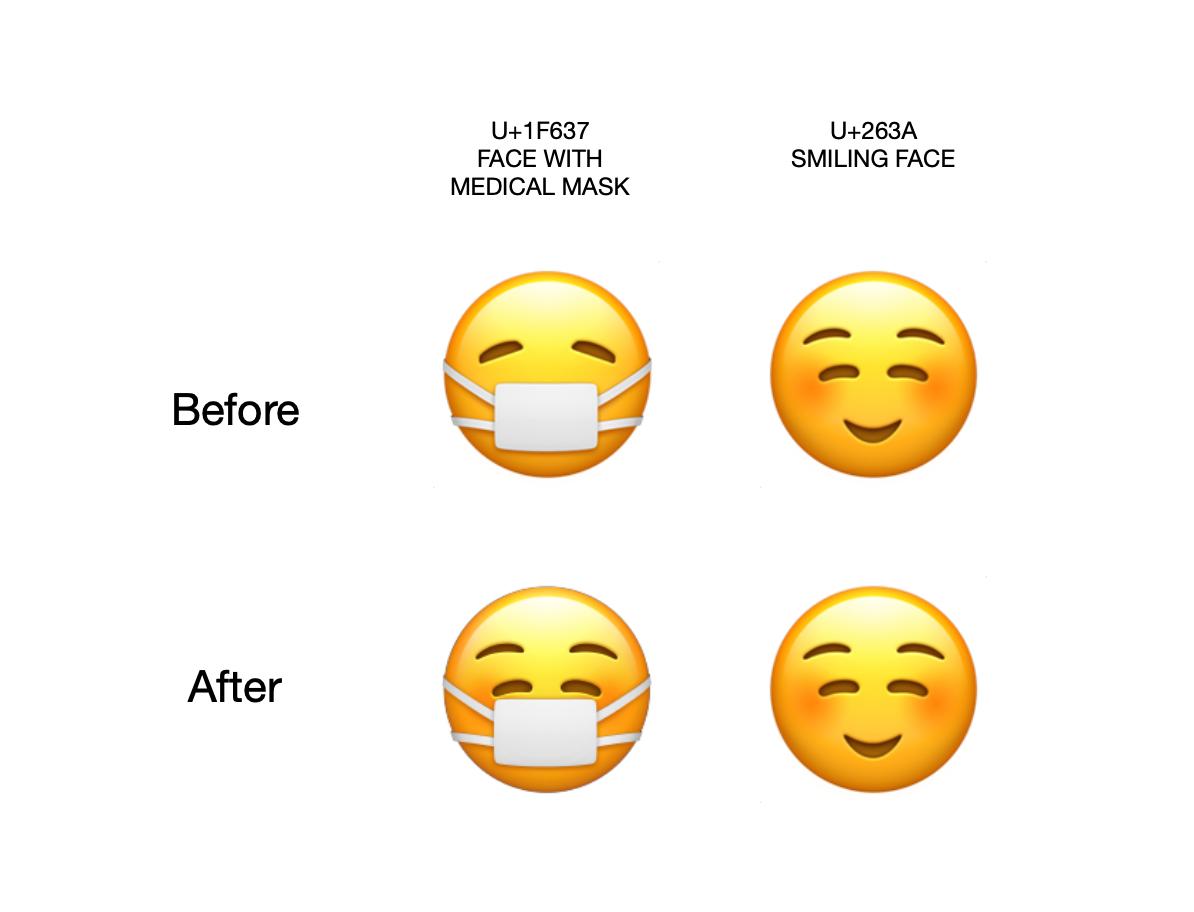 Mask Wearing Emoji Now Smiles