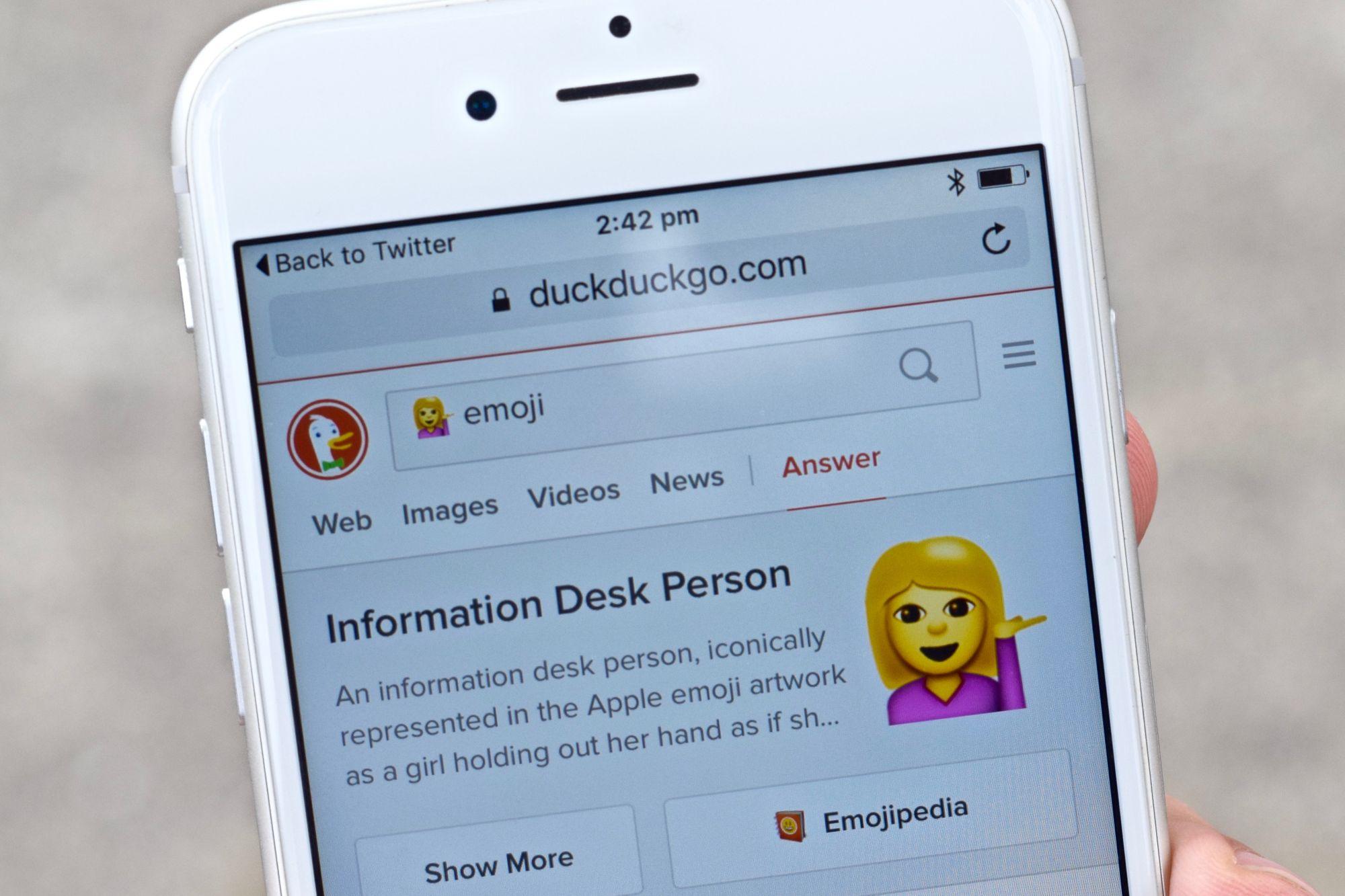 Emojipedia and DuckDuckGo