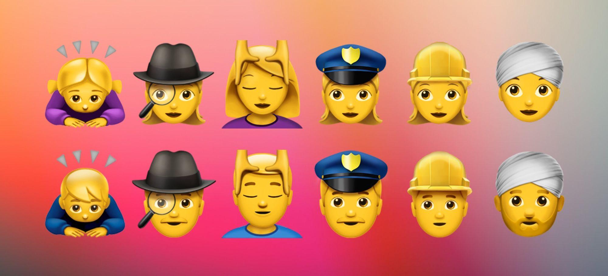 iOS 10 Gendered Emoji List