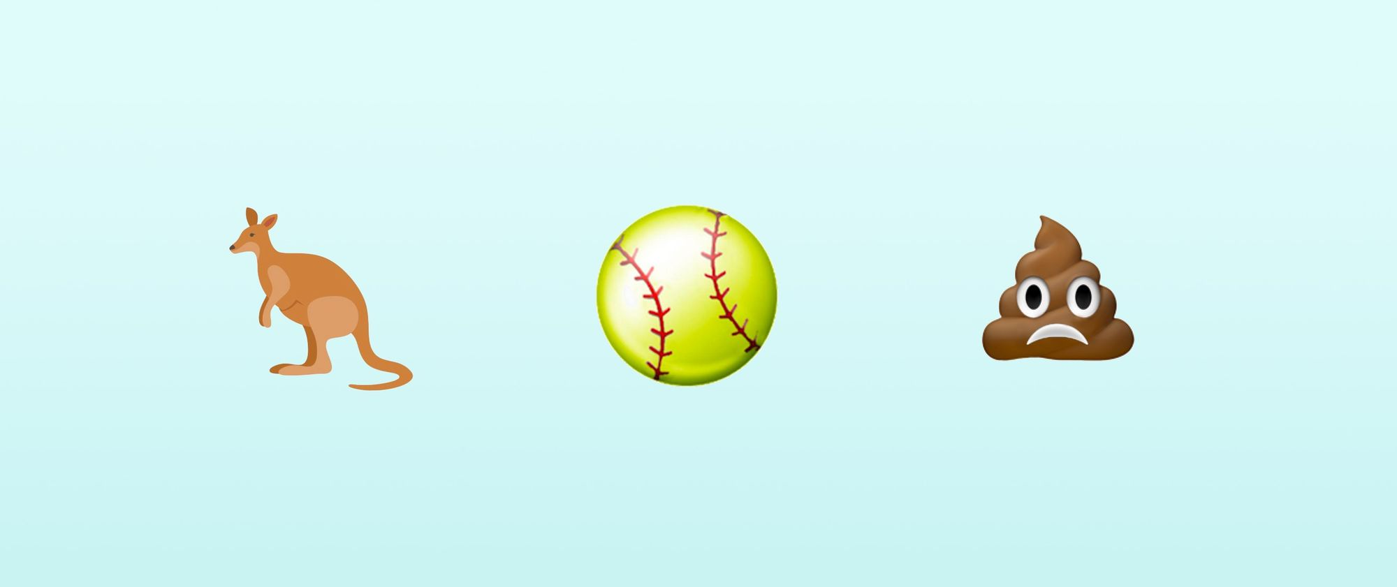 Kangaroo, Softball, Frowning Poo Emojis Possible For 2018