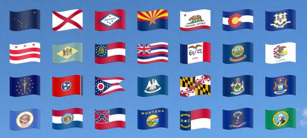 Emojipedia Stickers for U.S. State Flags